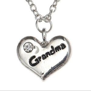 Grandma Engraved Love Heart Pendant Necklace